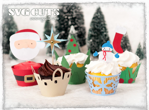 Christmas Cupcake Wrappers SVG Kit - Click Image to Close