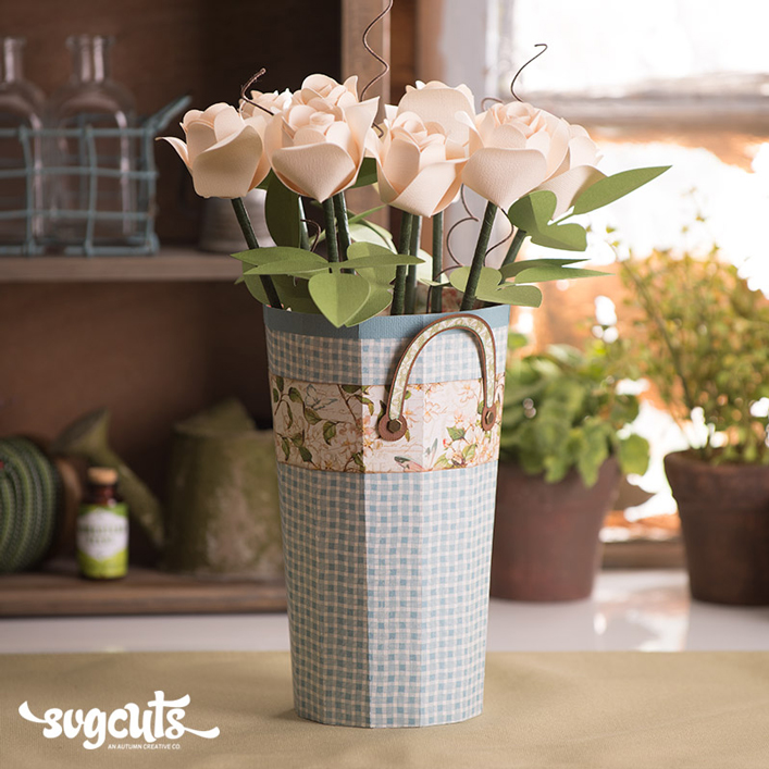 Flower Pail with 3D Roses - Click Image to Close
