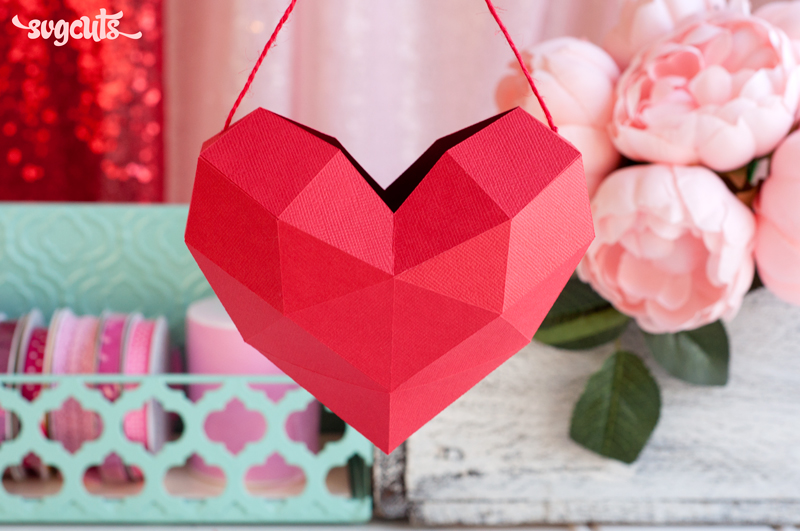 Hanging Geometric Heart - Click Image to Close