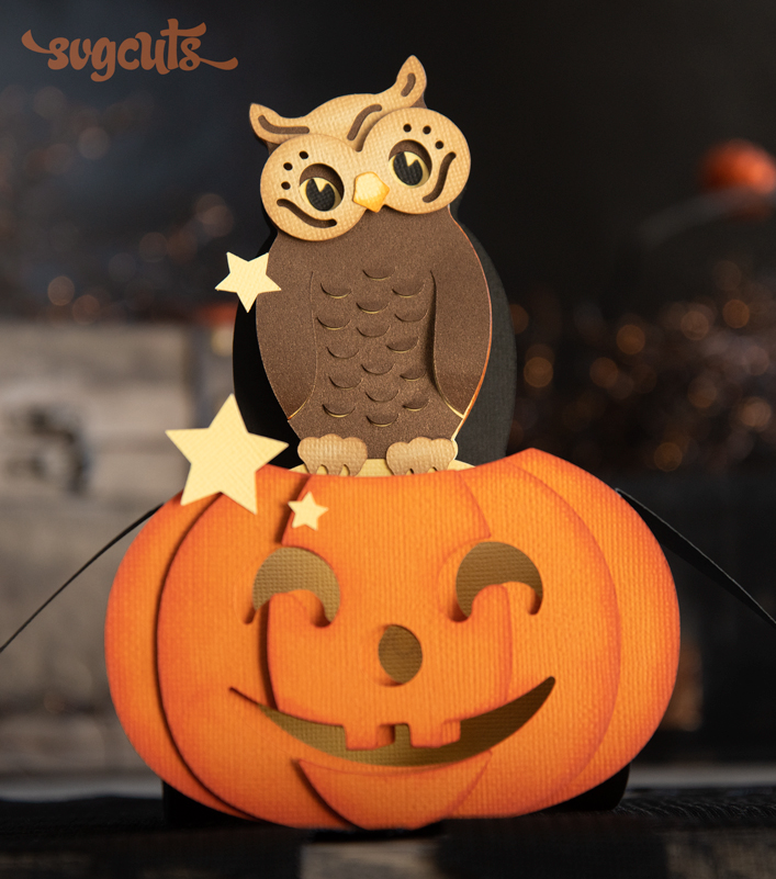 Owl and Jack O' Lantern Box Card - Click Image to Close
