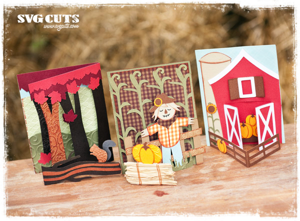 September Scenes Stand-Up Cards SVG Kit - Click Image to Close