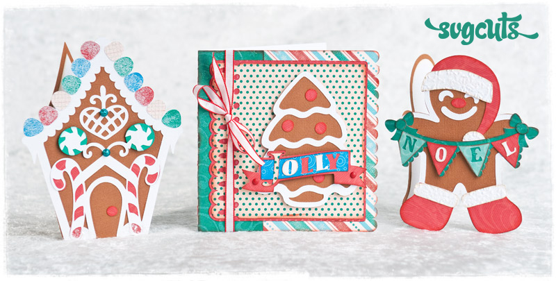 Warm Gingerbread Cards SVG Kit - Click Image to Close