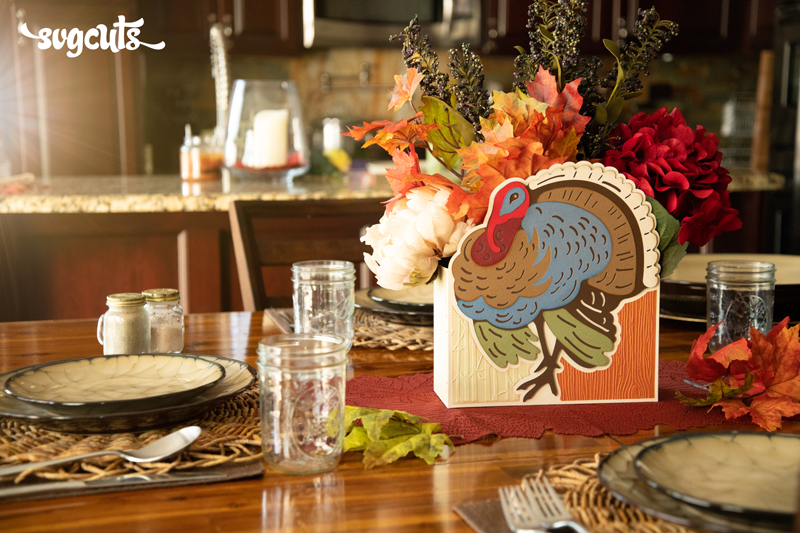 Turkey Centerpiece and Card SVG Kit - Click Image to Close