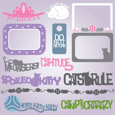 Frisky Felines Captions and Frames SVG Collection