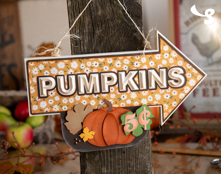 Pumpkins Arrow Sign