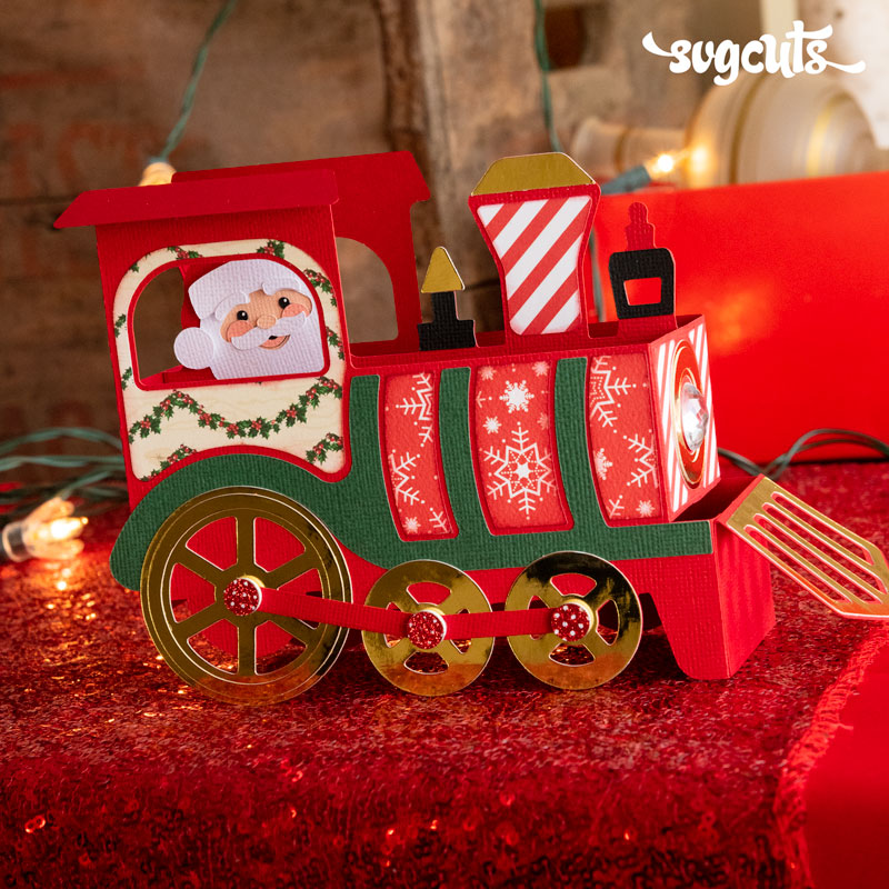 Santa Train Box Card
