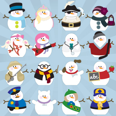 Snowmen Village SVG Kit